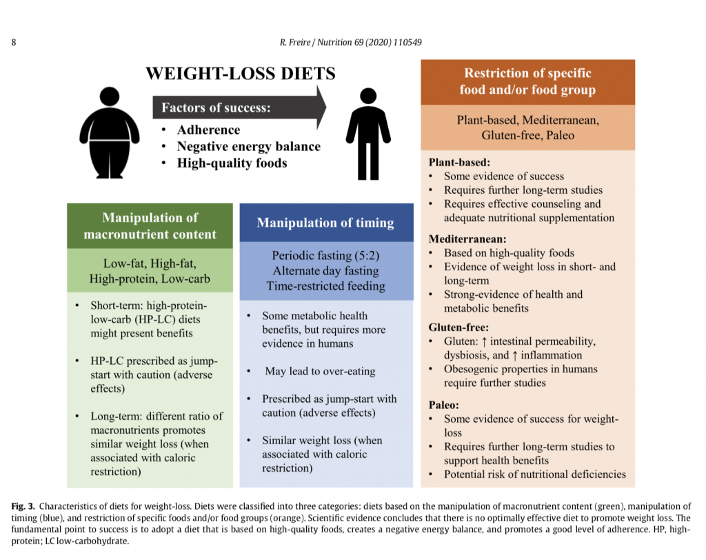 comparison categories of popular weight loss diets and factors for success
